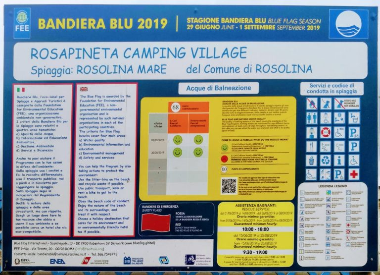 Błękitna Flaga 2019 dla plaży Rosapineta