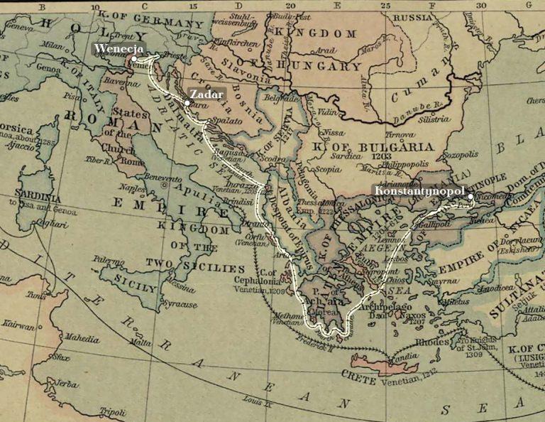 Mapa ekspansji terytorialnej Wenecji w XIII w. z zaznaczeniem trasy IV Krucjaty.