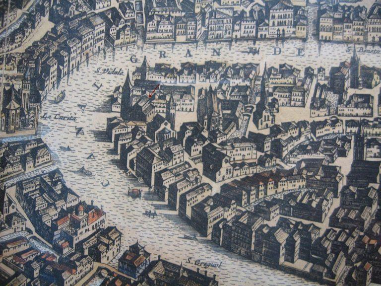 Plac i kościół San Samuele, mapa z XVII w.