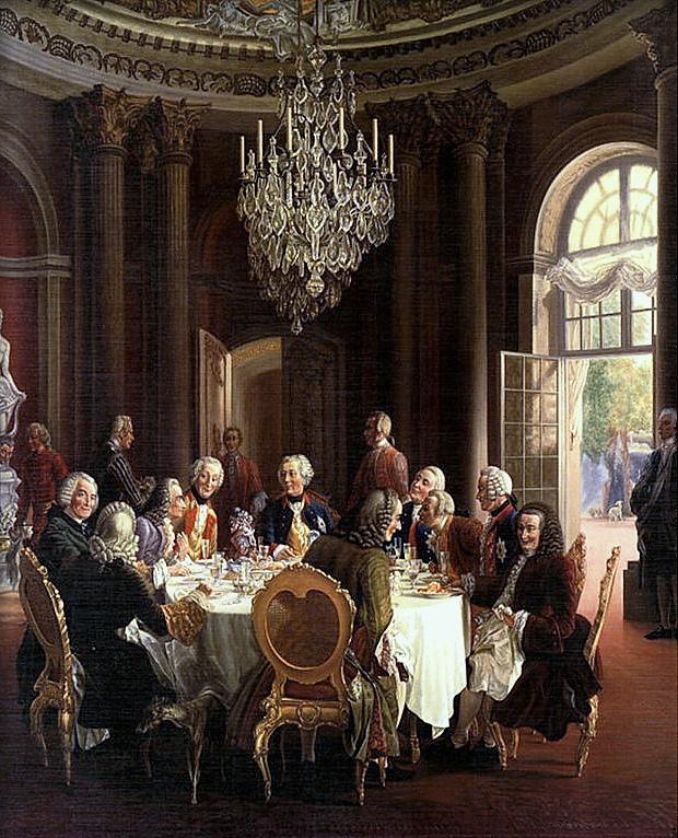 Adolph Menzel, Fryderyk Wielki z Wolterem i filozofami w Sanssouci