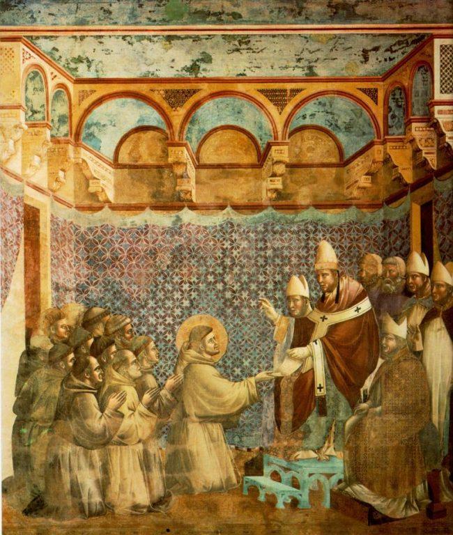 Zatwierdzenie reguły franciszkańskiej przez papieża Innocentego III - Giotto di Bondone